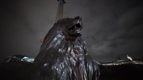 The Lions at Trafalgar Square London - LONDON, ENGLAND Live Action