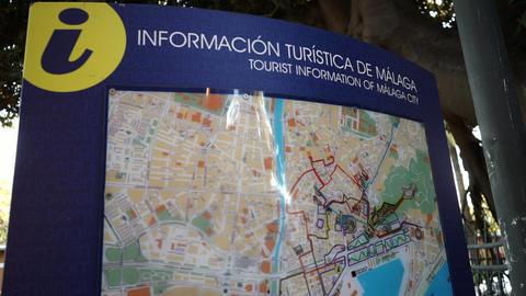 Malaga city map at Malaga tourist office Footage