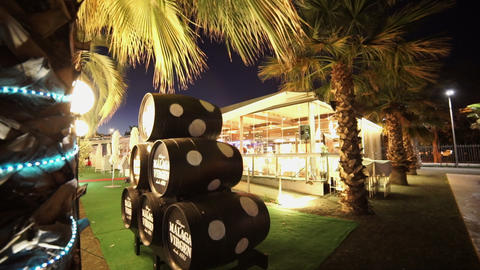 Stylish cocktail bar at Malaga seaside Footage