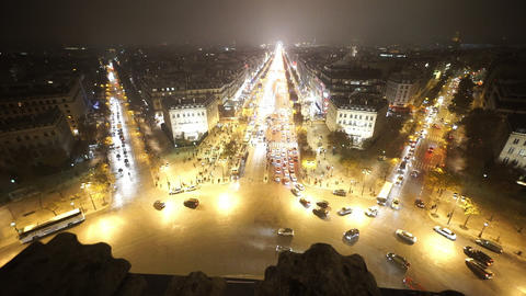 Wide angle aerial shot of Place Charles de Gaulle by night Footage