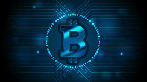 Blue technology video animation with bitcoin emblem CG動画素材