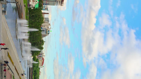 Vertical video. Panorama embankment. Time Lapse Footage