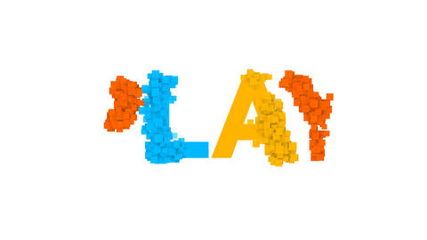 text PLAY from letters of different colors appears behind…, Stock Animation
