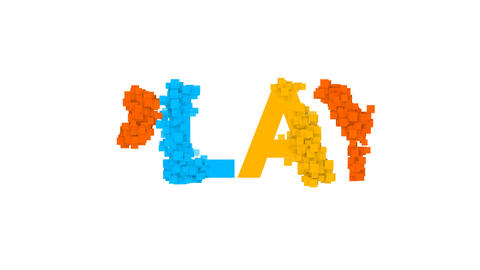 text PLAY from letters of different colors appears behind small squares. Then Animation