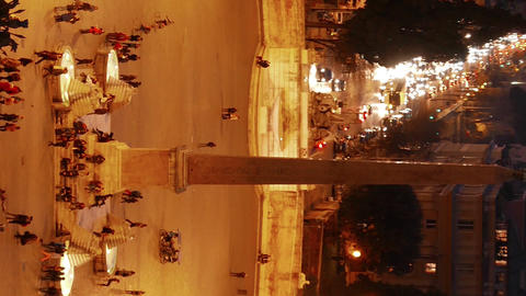 Vertical video. Piazza del Popolo after sunset. Rome, Italy Footage