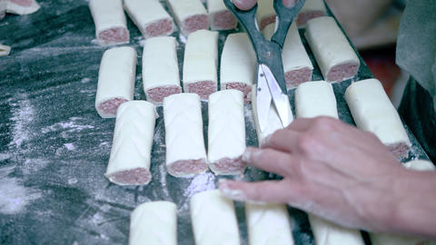 Sausage rolls being made Live Action