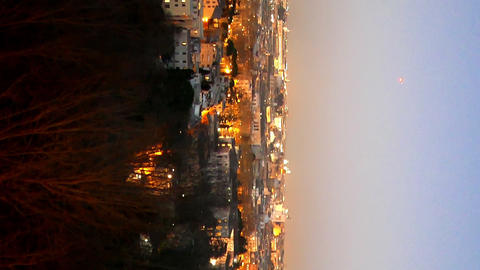 Vertical video. Night panorama of Rome. Italy Live Action