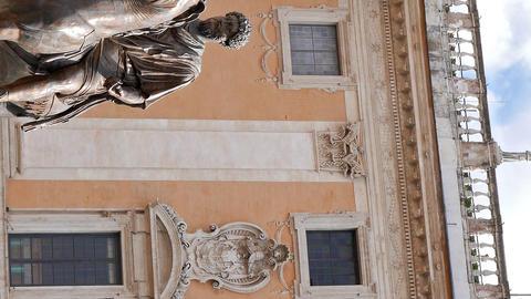 Vertical video. Statue of Marcus Aurelius and Comune Di Roma. Rome, Italy Footage