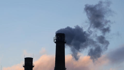 Industrial tube chimney smoke Footage