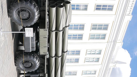 Vertical video. Smerch multiple rocket launchers. Pyshma, Ekaterinburg, Russia Footage