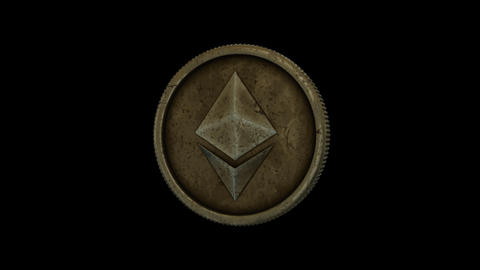 Realistic, Looped Spinning Ethereum Coin/Token With Alpha Channel CG動画素材