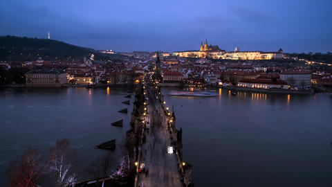 Time lapse footage of Charles Bridge, Prague Castle and Vltava river in Prague Footage