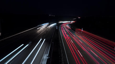 Time lapse on German highway at night Live Action
