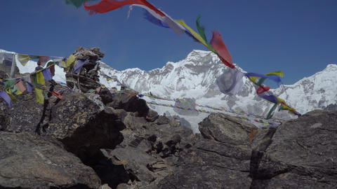 Prayer flags against the background of the Himalayan mountains Footage
