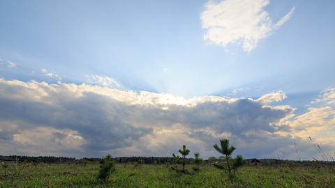 Rain clouds come and rain begins. TimeLapse. Panorama Slider Footage