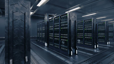 4k Animation presenting data center while working Animation