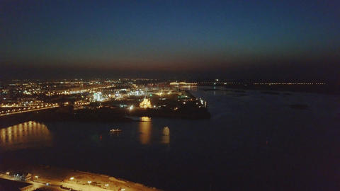 Night view from the air on Nizhny Novgorod. View of confluence of rivers, Live Action