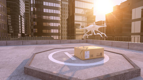 Drone takes away a parcel on a building roof CG動画素材