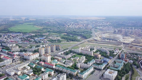 Beautiful panoramic view of the center of Saransk, as well as a stadium under Footage