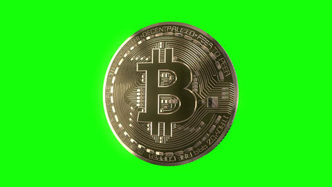 Bitcoin Spin on Green Animation