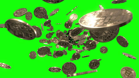 Flying through Bitcoins on Green Animation