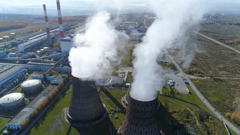 Aerial view: smoke from heavy industry factory GIF