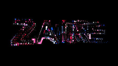 Letters are collected in country name ZAIRE, then scattered into strips. Bright Animation