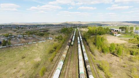 Cistern Cars with Petrol Stretch along Railway Tracks Footage