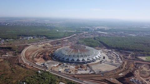Construction of a football stadium in the city of Samara. Samara - the city Footage