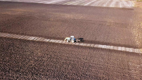 The tractor plows a field with fertilizers. Autumn, Russia, From Dron Footage
