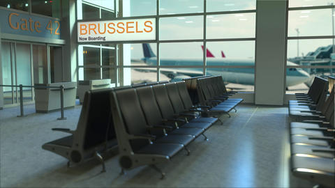 Brussels flight boarding now in the airport terminal. Travelling to Belgium Footage