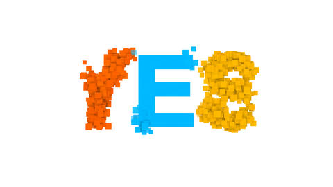 text YES from letters of different colors appears behind small squares. Then CG動画
