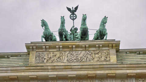 Quadriga At The Brandenburg Gate Berlin Germany - Motion Timelapse stock footage