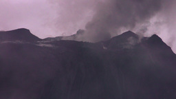 high altitude shot of Tungurahua volcano crater while highly active Footage