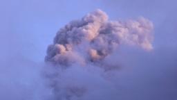 volcanic explosion mushroom in the sunset light Footage