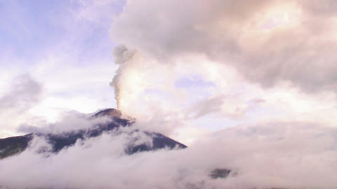 Tungurahua volcano crater while erupting Footage