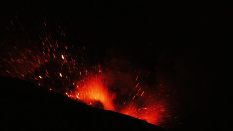 Tungurahua volcano amazing eruption after a moment of silence in the night Footage