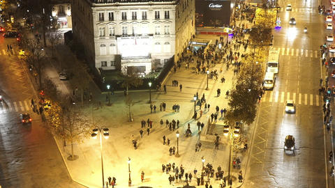 Charles de Gaulle place from above by night Footage