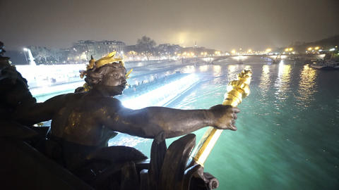 River Seine in Paris in a misty night with sightseeing river cruise Footage