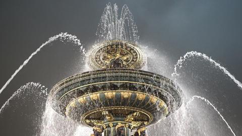 Night shot of famous fountain at Place de la Concorde Paris Live Action