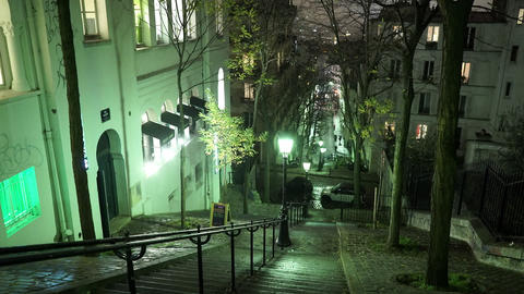 Steps to Montmartre hill in Paris - night shot Live Action