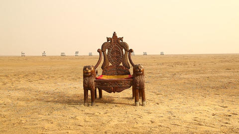 Antic Wood Chair in Desert Live Action