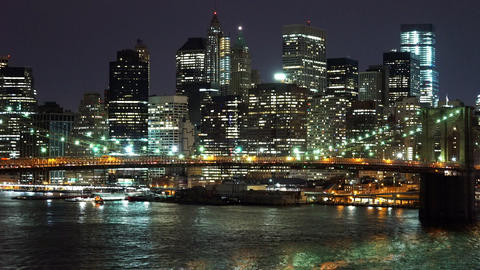 Amazing New York city lights by night - MANHATTAN, NEW YORK/USA APRIL 25, 2015 Live Action