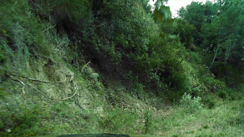 Offroad through a dry riverbed with a Jeep Wrangler, Andalusia, Spain Footage