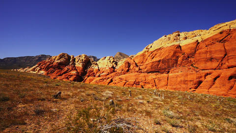 Wide angle shot of the Red Rock Canyon Nevada - LAS VEGAS, NEVADA/USA Live Action