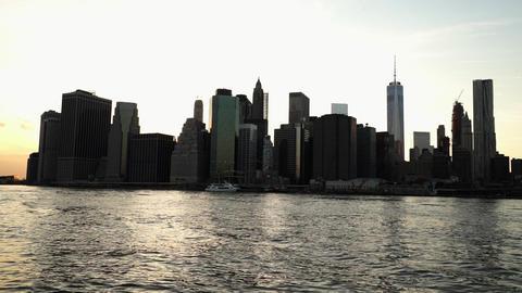 Manhattan downtown skyline in the evening - MANHATTAN, NEW YORK/USA APRIL 25, 20 Live Action