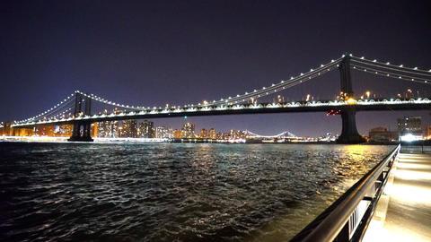 The beautiful Manhattan bridge by night - MANHATTAN, NEW YORK/USA APRIL 25, 2015 Live Action