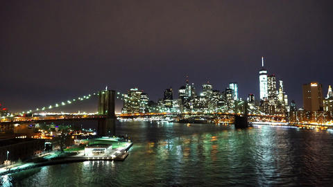 Awesome Manhattan skyline by night wide angle shot - MANHATTAN, NEW YORK/USA APR Live Action