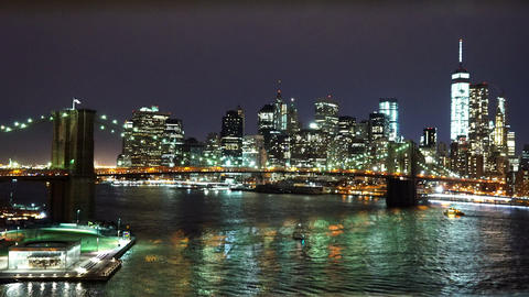 Awesome Manhattan skyline by night - MANHATTAN, NEW YORK/USA APRIL 25, 2015 Live Action