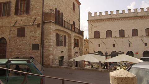 tracking shot on medieval palaces in downtown alleys, Assisi Footage